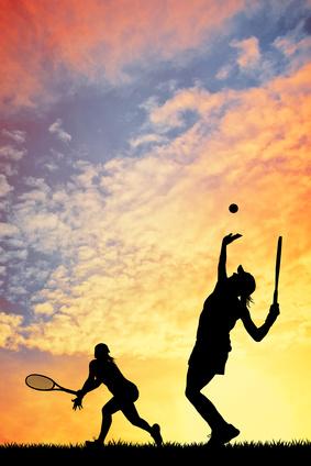 Tennis at sunset